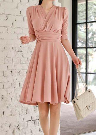 Kayleigh V Neck 1/2 Sleeve Midi Wrap Dress