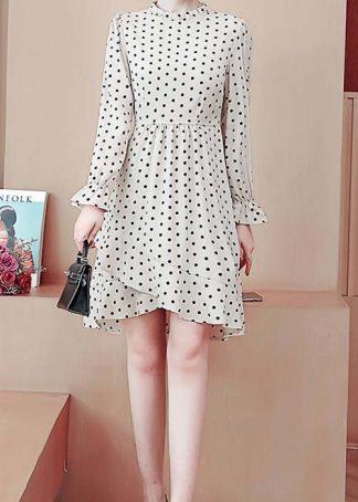 Wynter Ruffle Neck Polka Dot Print Asymmetrical Dress