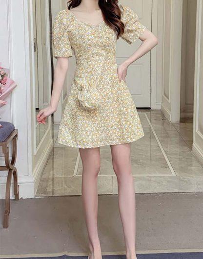 Reyna Floral Print Back Cutout Splice Dress